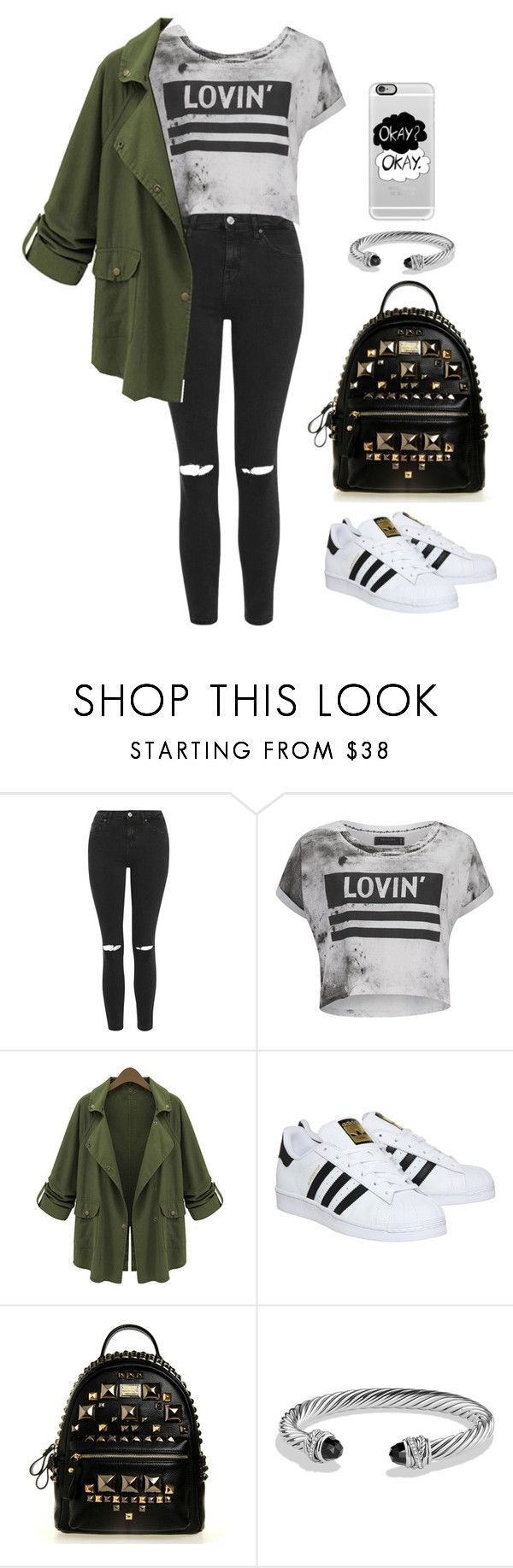 """Casual Outfit For School"" by emmygarcia77 on Polyvore featuring Topshop, Religion Clothing, Chicnova Fashion, adidas, David Yurman, Casetify, women&#…"