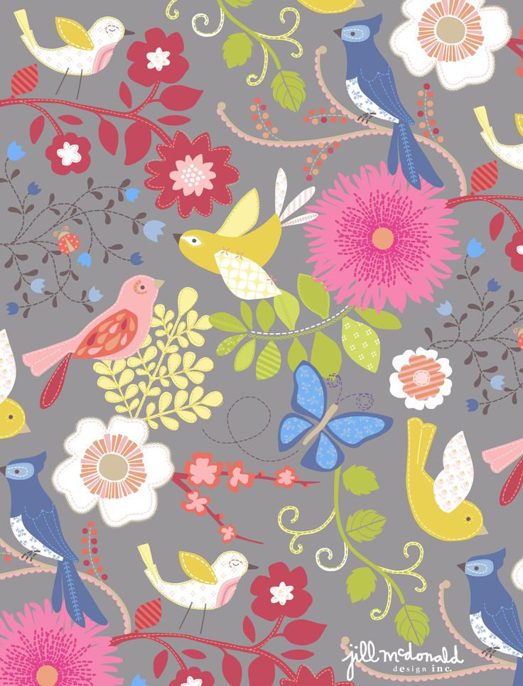 Birds & Flower Print by Jill McDonald Design