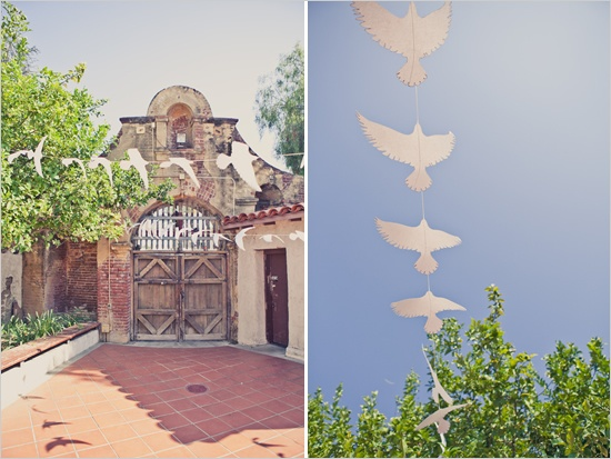 love the dove garlands at this wedding
