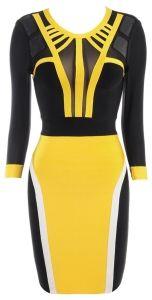 'Bree' Yellow & Black Mesh Bandage Dress
