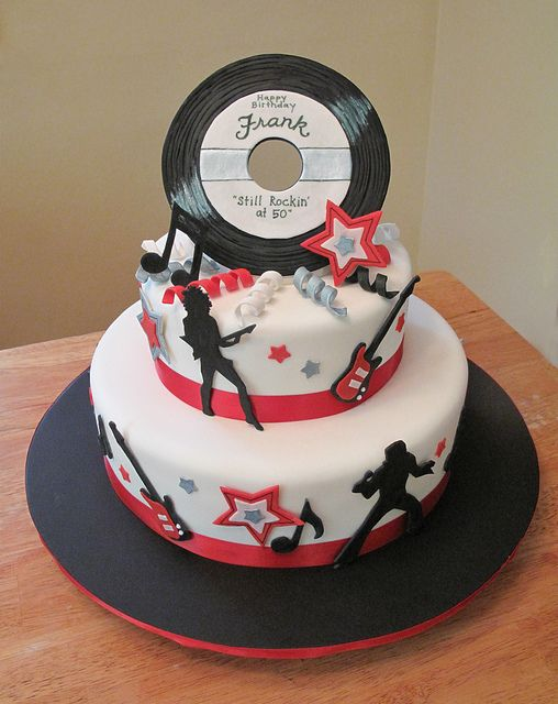50th Birthday Rock n' Roll cake by Sweet Maddie Lee Cake Design- Becky, via Flickr