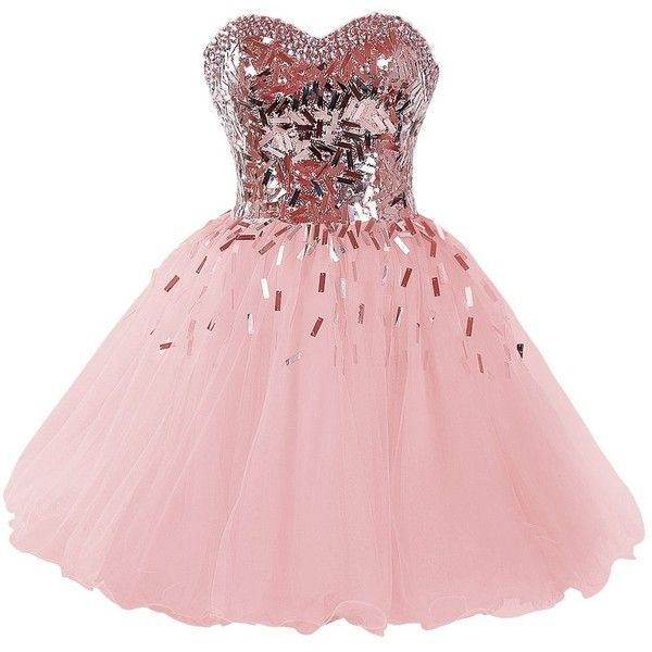 Dressystar Short A-Line Sweetheart Sparkling Beaded Prom Homecoming... (130 NZD) ❤ liked on Polyvore featuring dresses, a line cocktail dress, pink prom dresses, beaded cocktail dress, sparkly prom dresses and cocktail prom dress