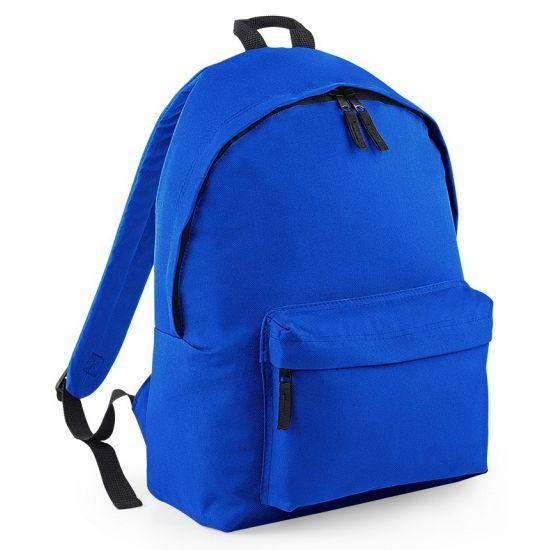 Kobaltblauwe rugtas van polyester  Hippe rugtas met voorvak in de kleur kobaltblauw. Kobaltblauwe rugtas van het merk BagBase. De tas is gemaakt van polyester heeft een extra voorvak met ritssluiting een gevulde rugsteun en een inhoud van ongeveer 18 liter. Formaat: 42 x 31 x 21 cm.  EUR 14.95  Meer informatie