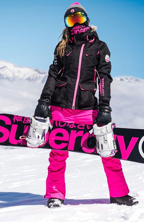 perfect ski outfit black jacket red