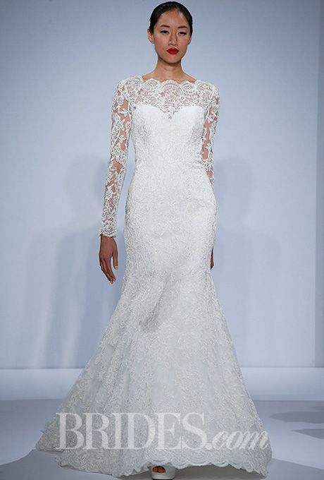 Dennis Basso for Kleinfeld - Spring 2014 Ivory long sleeve lace dropped waist fit and flare wedding dress with scallop edge detailing, Dennis Basso