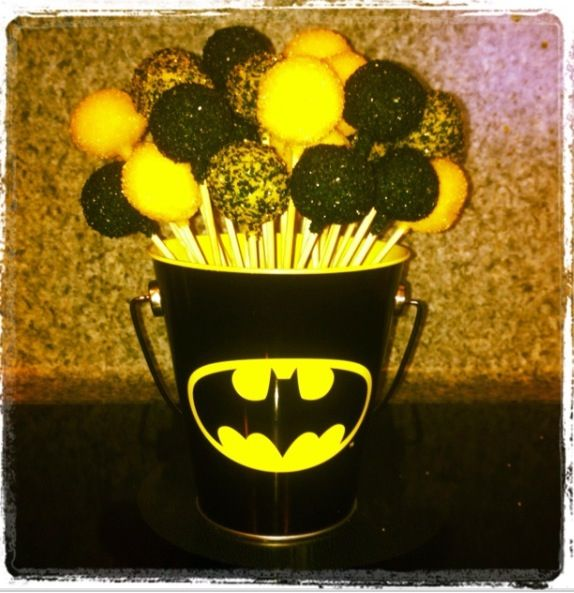 Batman cake pops, for Wyatt's Birthday