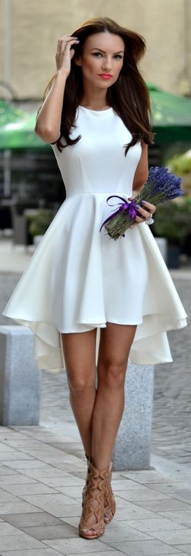 Emmy DE * White High And Low Skater Dress by My Silk Fairytale