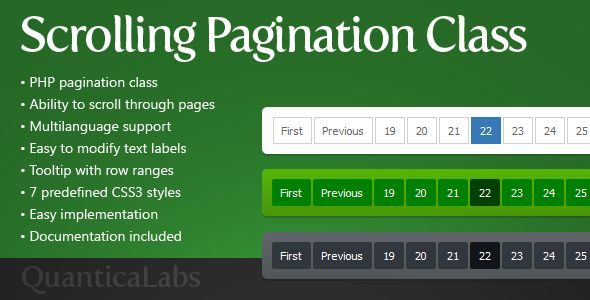 Scrolling Pagination Class is a class written in PHP 5 .x used to create a pagination of results from different sources.