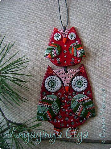 Картина панно рисунок Рождество Лепка Рождественские совушки Глина фото 7