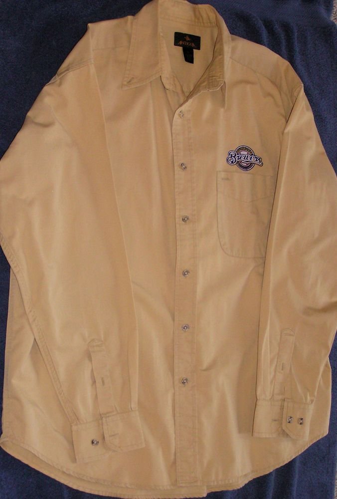 MILWAUKEE BREWERS ANTIGUA EMBROIDERED BUTTON DOWN LONG SLEEVE ADULT LARGE SHIRT #Antigua #MilwaukeeBrewers