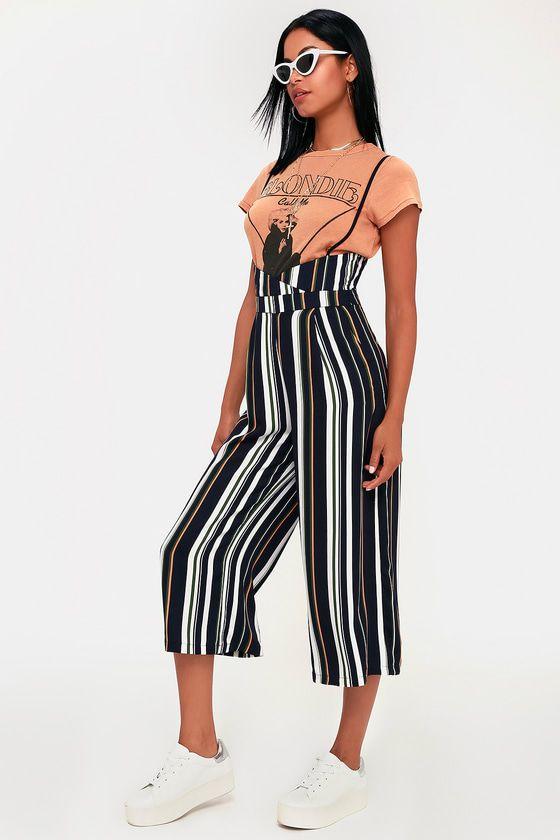 beb130c1c566 Creative Love Navy Blue Multi Striped Suspender Culotte Pants ...