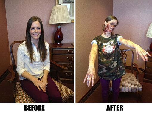 How to ZOMBIE-FY yourself for Sunday's Zombie Run 5K! Makeup tips, before-and-after photos and more!