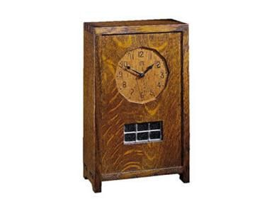 Shop for Stickley Small Mantel Clock, 89-083, and other Accessories at Woodbridge Interiors in San Diego, CA. Features an art glass window and a highly accurate battery powered Quartz movement.