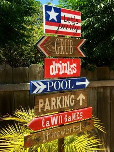 4th of July Decoration, Patriotic Directional Party Signs, Yard Stake, Wedding Signs on Etsy, $25.00