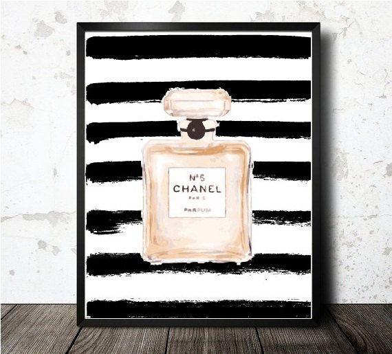 Chanel Parfum Art Print - Black Stripe Watercolor Fine Art illustration Chanel Inspired Fashion Home Decor Dimensions : 8 x 10