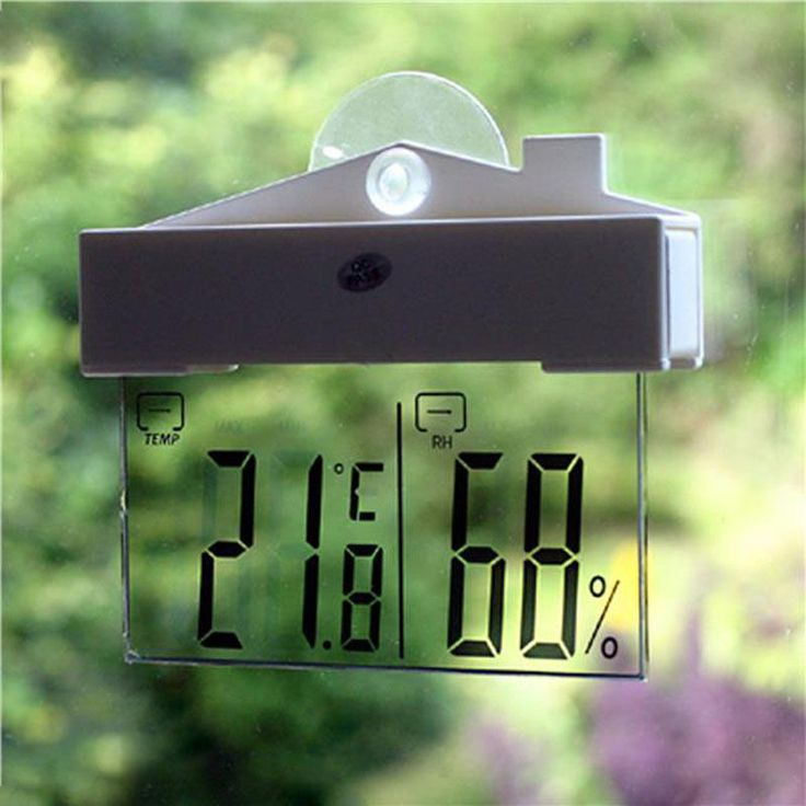 LCD Digital Window Indoor/Outdoor Thermometer / hydrometer with suction cup and adhesive tape for easy mounting. Included: 1 XDigital Thermometer. Measures and displays the temperature (in Celsius or Fahrenheit) and humidity.   eBay!