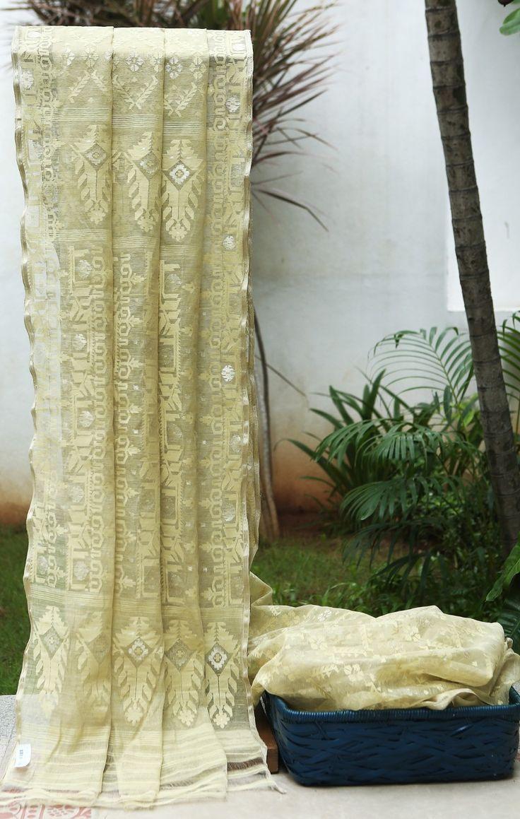 Lakshmi Handwoven Dacai Cotton Sari 000461 - Sari / All Saris - Parisera
