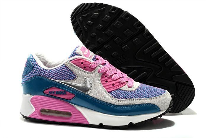 Discount Nike Air Max 90 Weiblich Schuhe Weiß Pfirsichrot Lila Online KOSTENLOSER VERSAND DURCH DHL €60,04