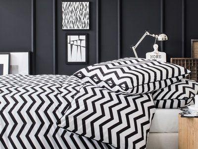 Parure housse de couette 240x220cm + taies 100% coton motif chevron noir/blanc ZIGZAG