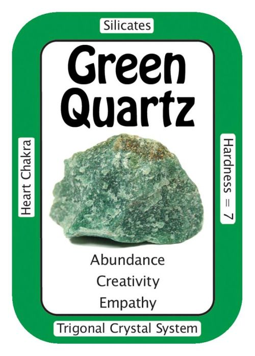 "Crystal Card of the Day: Green Quartz, ""I give and receive loving, empathic energy."" Green Quartz can help one learn empathy in a ""dog-eat-dog"" environment.  This quality is good for both the giver and the receiver, as well as  for the benefit of the whole world using collective consciousness.  Working with Green Quartz can promote cooperation and tactful honesty,  which can be a wonderful addition to any home or office environment.  Keep tumbled Green Quartz in your pocket or purse  if you…"