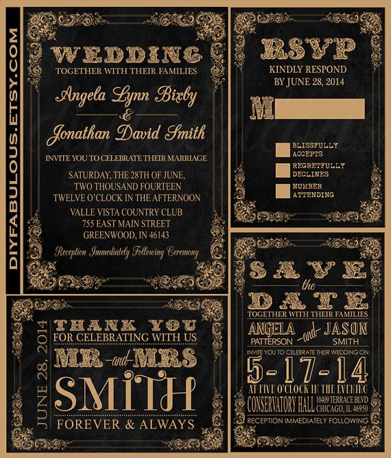 Printable Chalkboard Black and Gold Wedding by DIYFabulous on Etsy, $9.00