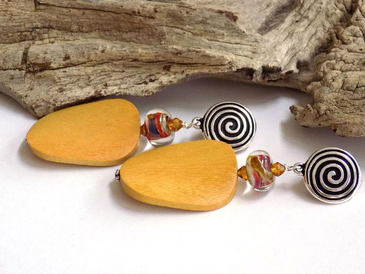 Large Clip on Earrings, Yellow Earrings, Big Earrings for Women, Wooden Earrings, Perfect Gift for Her, Handcrafted Jewelry, Glass Earrings by BlondePeachJewelry on Etsy