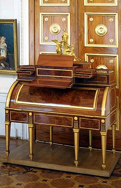 Roll-front desk with a medal of Plato    1785    Workshop of David Roentgen    Neuwied, Germany    Mahogany veneer; carcass of oak and partly solid mahogany; gilded bronze and brass