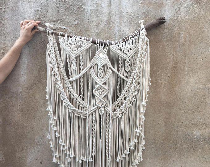 Pared moderna macrame colgante, Boho Home Decor tapiz de pared, tapices de casa y decoración, arte de fibra, arte textil, regalo, tissage mural, tapiz