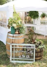 Outdoor Rustic Wedding Decor: Barrels And Old Windows