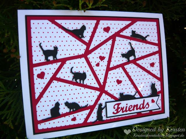 handmade card from Kersten's Creative box: FRIENDS ... black , white and red ... die cut mod puzzle coverplate ... lots of little die cut cats ... fun card!