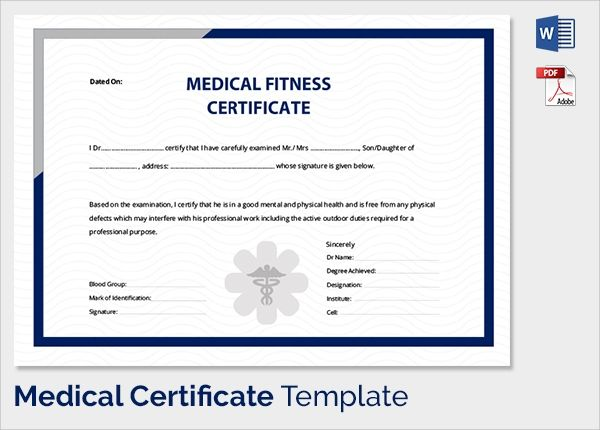 Free 54 Sample Medical Certificates In Pdf Ms Word For Physical Fitness Certificate Template Editable In 2021 Certificate Templates Certificate Medical