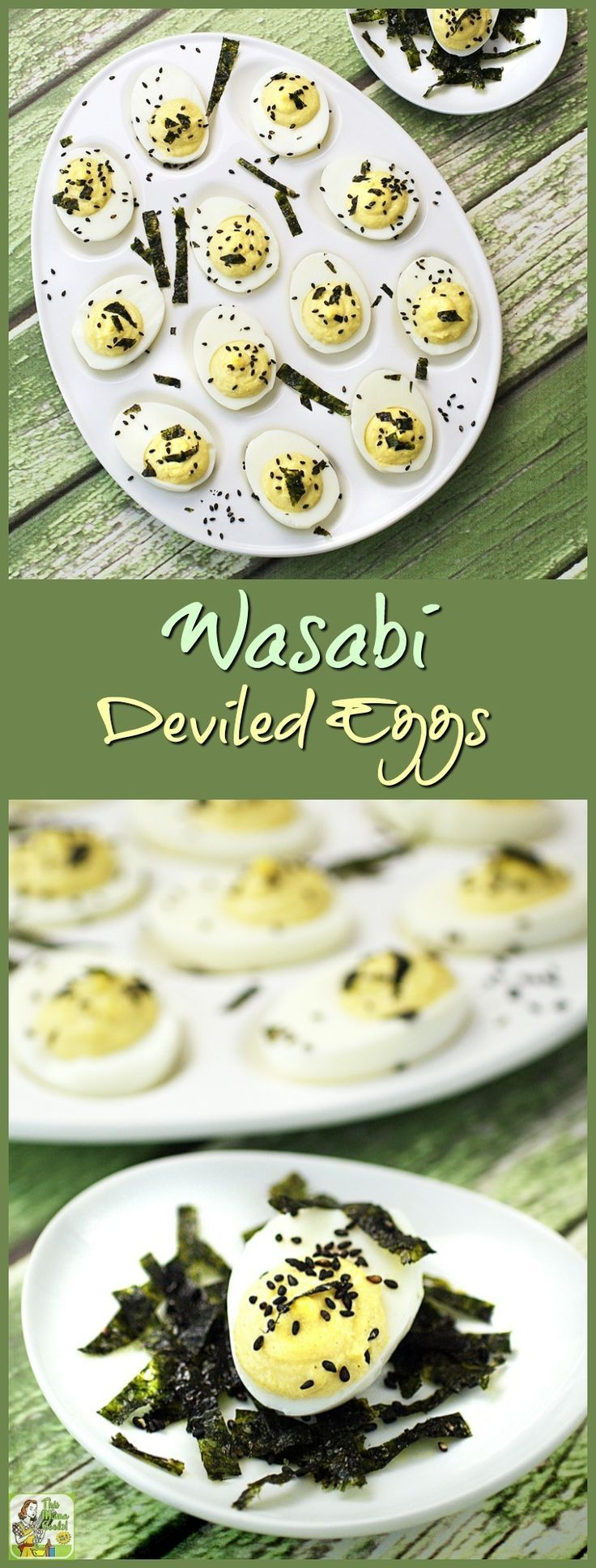 Great for a party! Wasabi Deviled Eggs are a gluten free and spicy twist on a classic deviled egg recipe. Click to get this spicy wasabi deviled eggs recipe.