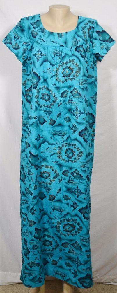 UI-MAIKAI Vintage Blue-Green Hawaiian Island Name Print Hostess Dress Muumuu 12 #UiMaikai #Shift #Party