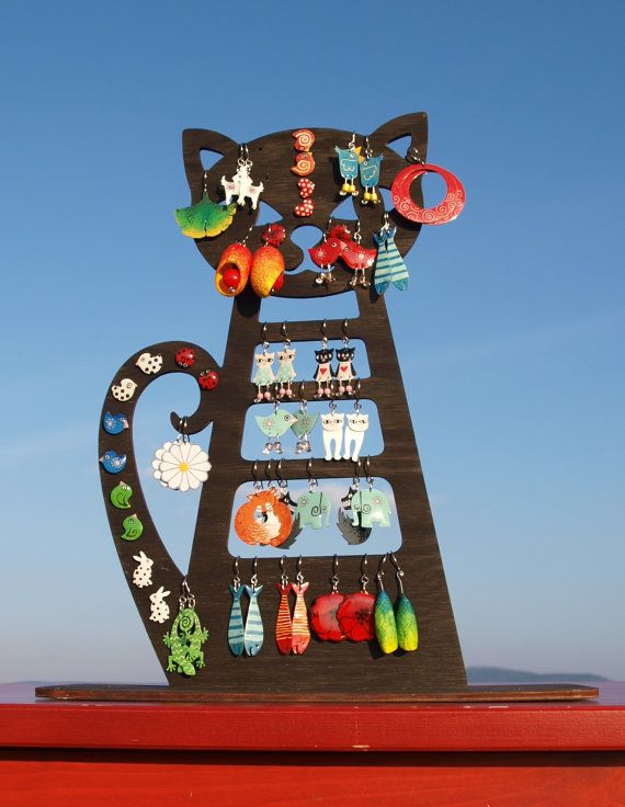 Check out this item in my Etsy shop https://www.etsy.com/listing/224968321/black-cat-earring-stand-earring-display