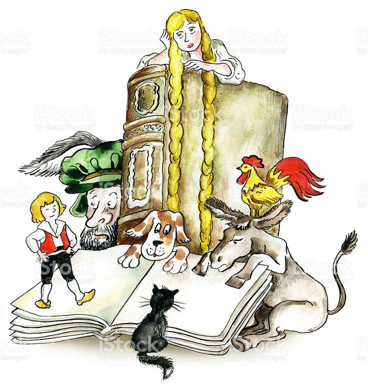 Irmãos Grimm livros caracteres vetor e ilustração royalty-free royalty-free