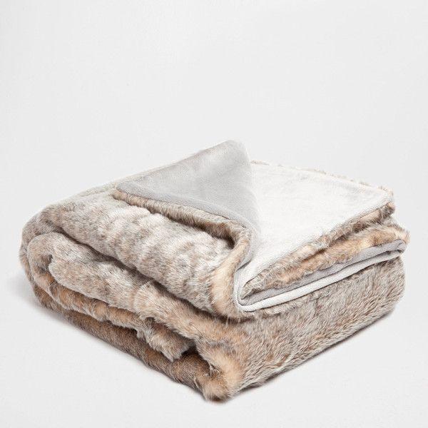 Zara Home Gray Fur Blanket (47.795 HUF) via Polyvore featuring grey