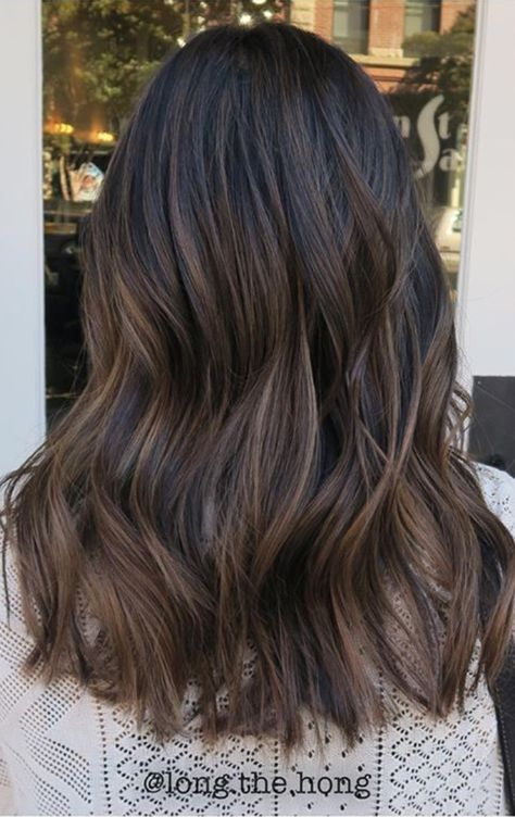Natural coffee-toned balayage on black hair