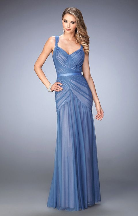 La Femme Ruched Sleeveless Fitted Evening Gown 22551 1 Pc Slate