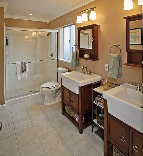 farm style bathrooms | ... farm-style sinks with rich wood cabinetry underneath and coordinating