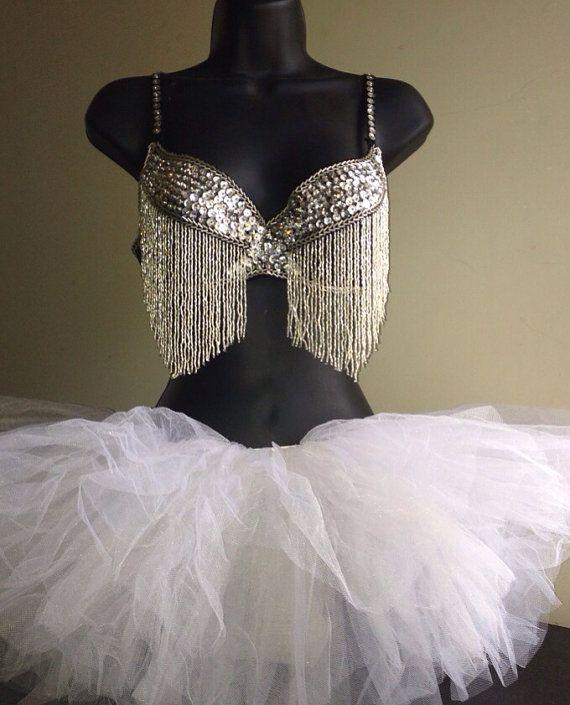 Women's White Sequin Tassel Bead silver Rave EDC Bra + White Tutu Full Outfit on Etsy, $34.99