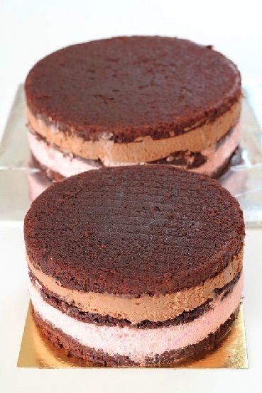 Mud cake with raspberry mousse and milk chocolate ganache.