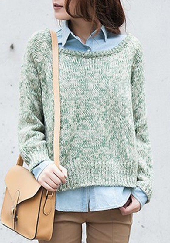 Green Plain Loose Irregular Thick Wool Blend Sweater