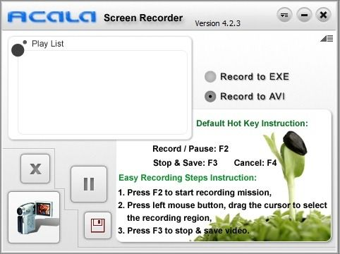 Acala Screen Recorder: Record Screencasts To AVI Or Self Running EXE