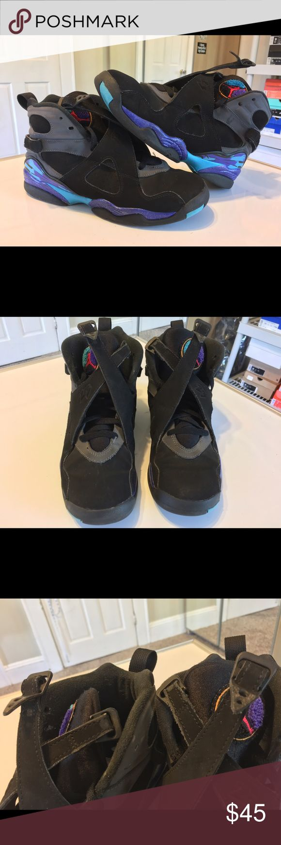 Kids Air Jordan 2013 retro aqua 8s size 7Y Kids Air Jordan 2013 retro aqua 8s    Size: 7y    Preowned condition flaws include scuffs/scratches, the plastic tip are a little broken on straps (shown in pics), creasing,paint chipping and some heel drag!   No box!    If you have any questions please message me thanks!    Check out my other listings! Jordan Shoes Sneakers