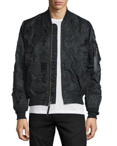 MARCELO BURLON Tonal-Patches Nylon Bomber Jacket, Black. #marceloburlon #cloth #