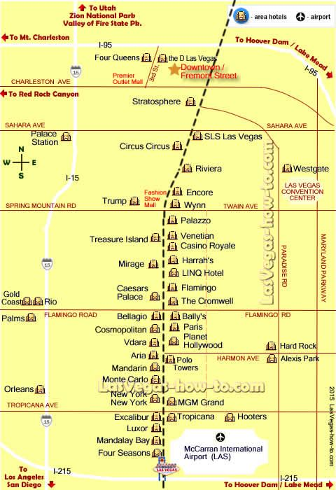 Las Vegas Strip Map Getting around Las Vegas tips and links