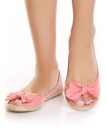 Mixx Sandra 01 Coral Bow Toe Espadrille Peep Toe Flats