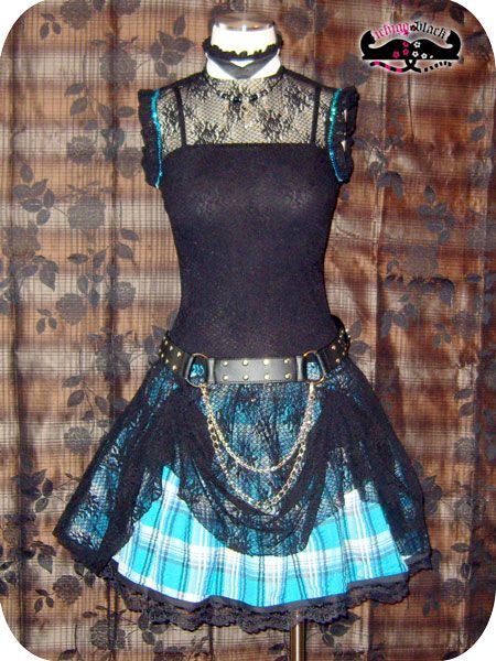 Punk Skirt - I have a dress with black and white tartan taffetta... wonder if this would work with it???