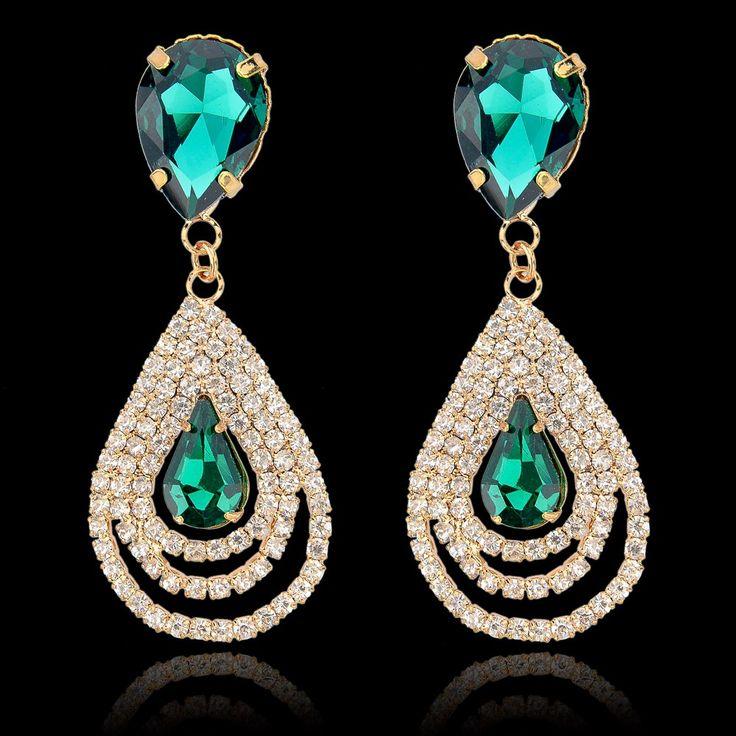 Barato 2016 moda de cristal Rinestone Brincos para mulheres grandes Brincos de…