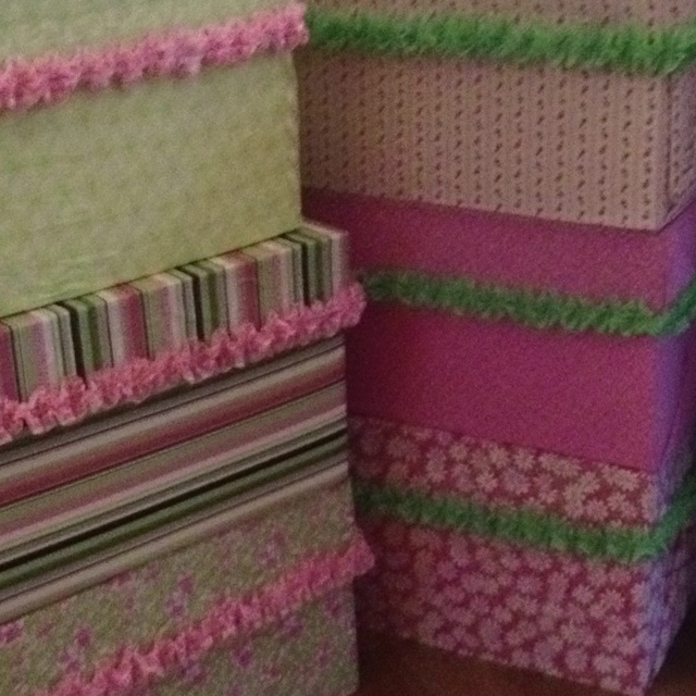 Copy paper boxes I covered with fabric. Will be using for children tea tables at Ava's birthday tutu tea party. Afterwards, I will use as pretty storage boxes in my sewing/craft room..
